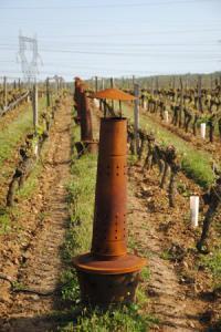 Au clos des Cordeliers, à Souzay-Champigny, dans le Maine-et-Loire, Marie-Françoise et Sébastien Ratron ont installé 1860 chaufferettes au fuel pour protéger les vignes du froid.