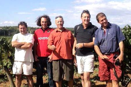 De gauche à droite: Valentin Blattner, Vincent Pugibet, du domaine de la Colombette, Philippe Borioli, Volker Freytag et Klaus Rummel.