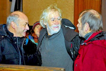 Pascal Pavie (au centre), un viticulteur audois, est traîné devant le tribunal par le Comité interprofessionnel des vins du Languedoc pour refus de paiement des cotisations volontaires obligatoires. © MAXPPP