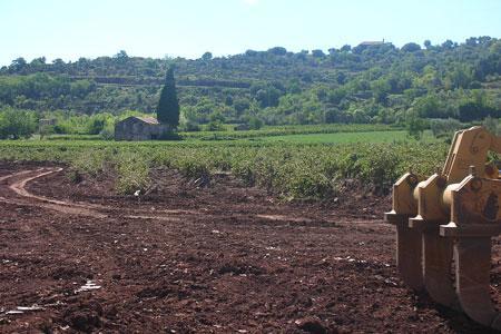 «Jérôme Brol, viticulteur au Puech, a fait venir des bulldozers pour nettoyer sa parcelle de 2,5ha inondée le 12septembre dernier.» ©Chambre d'agriculture de l'Hérault