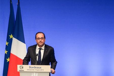 À Vinexpo, François Hollande s'est exprimé de façon ambiguë sur l'amendement clarifiant la loi Évin. ©T.Moritz/ IP3/MaxPPP