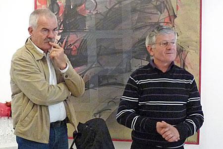 Bernard Augé (à gauche), directeur de la section IGP du CIVL, et François Pottier, président de l'ODG Haute Vallée de l'Orb, lors de la présentation de l'IGP à la presse, le 13octobre, à Bédarieux. ©A.SERRES