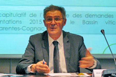 Jean-Bernard de Larquier, ce 26février, au siège duBnic, lors de laconférence de presse de laFédération desinterprofessions dubassin viticole Charentes-Cognac.