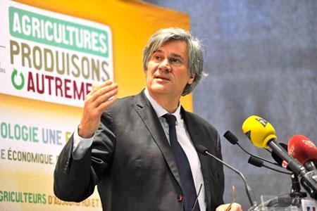 Lors de la conférence de presse, Stéphane Le Foll, ministre de l'Agriculture, a lancé la deuxième version du plan Ecophyto.