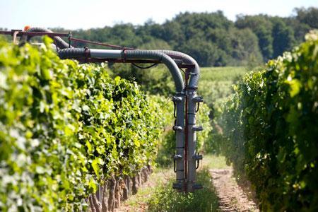 Pour baisser leurIFT, 85% des viticulteurs du réseau ont, entre autres, améliorer laqualité de lapulvérisation. ©P.ROY