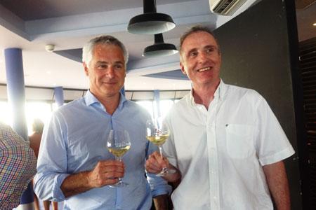 Patrick Guiraud et Thierry Duchenne, respectivement président et directeur de Sudvinbio, lors de l'assemblée générale, le 9juin, à Palavas-les-Flots, dans l'Hérault. ©M.TRÉVOUX