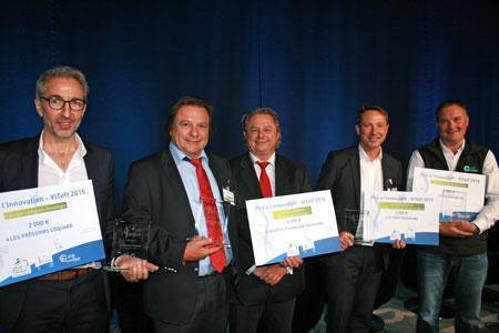 De gauche à droite : Jean-Pierre Masset (pressoirs Coquard), Philippe et Jean-François Aertgeets (agence Le Sanglier Packaging), Sylvain Aubry (Seyfert) et Didier Tranchant (ADT Technologies). ©A.LUTUN