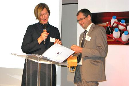 Marie-Christine Tarby et Joël Forgeau, l'ancienne et le nouveau président de Vin et société. © A. AUTEXIER