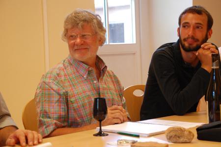 Jean-Michel Deiss (à gauche), président, et Florian Beck-Hartweg, vice-président de l'Université des Grands Vins. (Photo C. Reibel)