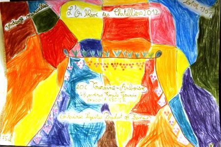 François, 11ans, a eu dessiné cette étiquette pour l'apposer sur les bouteilles de la cuvée produite par sa classe. ©I.PROUST