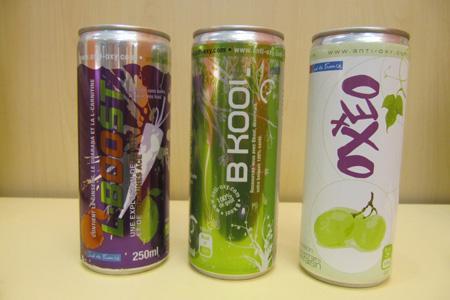 Anti-Oxy est une gamme de boissons rafraîchissantes composées d'antioxydants ou de sucres issus du raisin. © DR