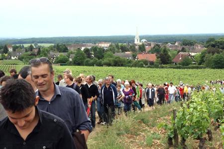 Les opposants à l'usine de retraitement de déchets dangereux Praxyval ont entamé une marche à travers les coteaux de l'appellation Givry