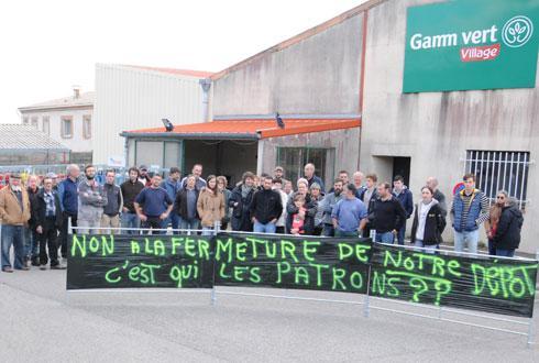 Une quarantaine d'adhérents d'Arterris se sont réunis, le 7 novembre, pour manifester contre la fermeture du magasin Gamm vert et du dépôt d'appro de Saissac, dans l'Aude. © Amaël François/La Dépêche du Midi
