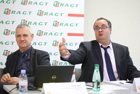 Claude Tabel, président du directoire du groupe RAGT (à g.) et Laurent Guerreiro, directeur général de RAGT semences. © A.-M. LAVILLE