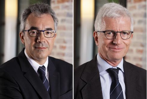 Christophe Passelande (à g.) remplace Didier Thierry (à dr.) à la direction générale de Soufflet Agriculture et devient directeur général du groupe Soufflet. Didier Thierry est nommé quant à lui directeur des relations extérieures du groupe.