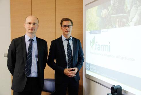 Jean-François Huet (à gauche), directeur des systèmes d'information du groupe Soufflet et Hugues Mornand, responsable marketing de Soufflet Agriculture. © R. FOURREAUX