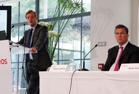 Alexis Duval, président du directoire, et François Leroux, le nouveau président du Conseil de surveillance de Tereos. © R. FOURREAUX