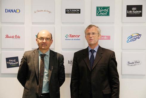 «Le chiffre d'affaires a doublé en cinq ans», a rappelé Arnaud Degoulet, président d'Agrial (à gauche), aux côtés de Ludovic Spiers, directeur général du groupe. © M. COISNE