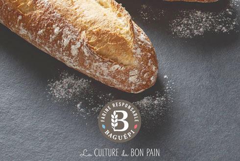 La «farine responsable», qui permettra de relancer la marque Baguépi, sera identifiée par un logo dans une grosse pastille ronde.