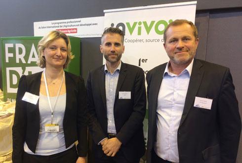 De gauche à droite, Carole Rocca, manager du projet Fermes Leader, Stéphane Marcel, directeur général de Smag, et Laurent Martel, directeur du pôle InVivo Agriculture © M. COISNE